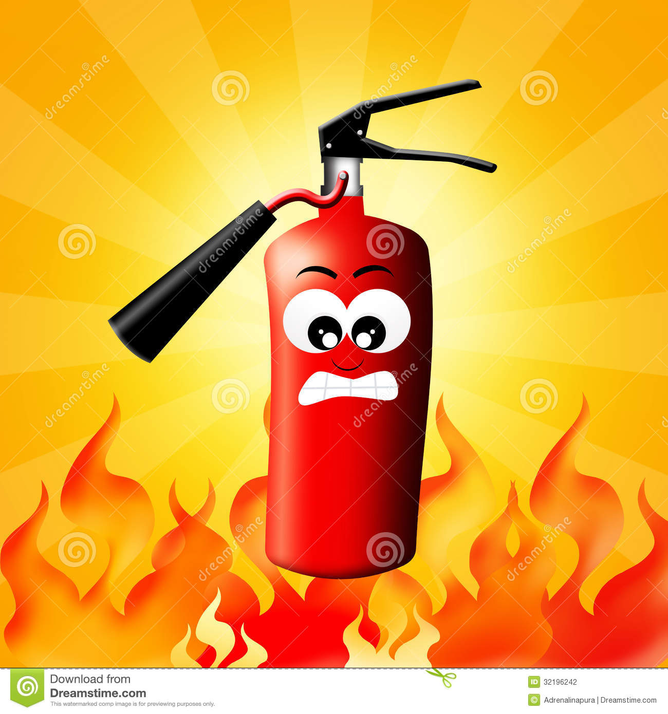 Illustration of fire extinguisher in the fire.