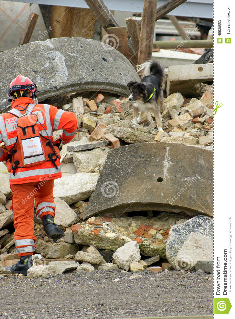 Fire fighter at building collapse