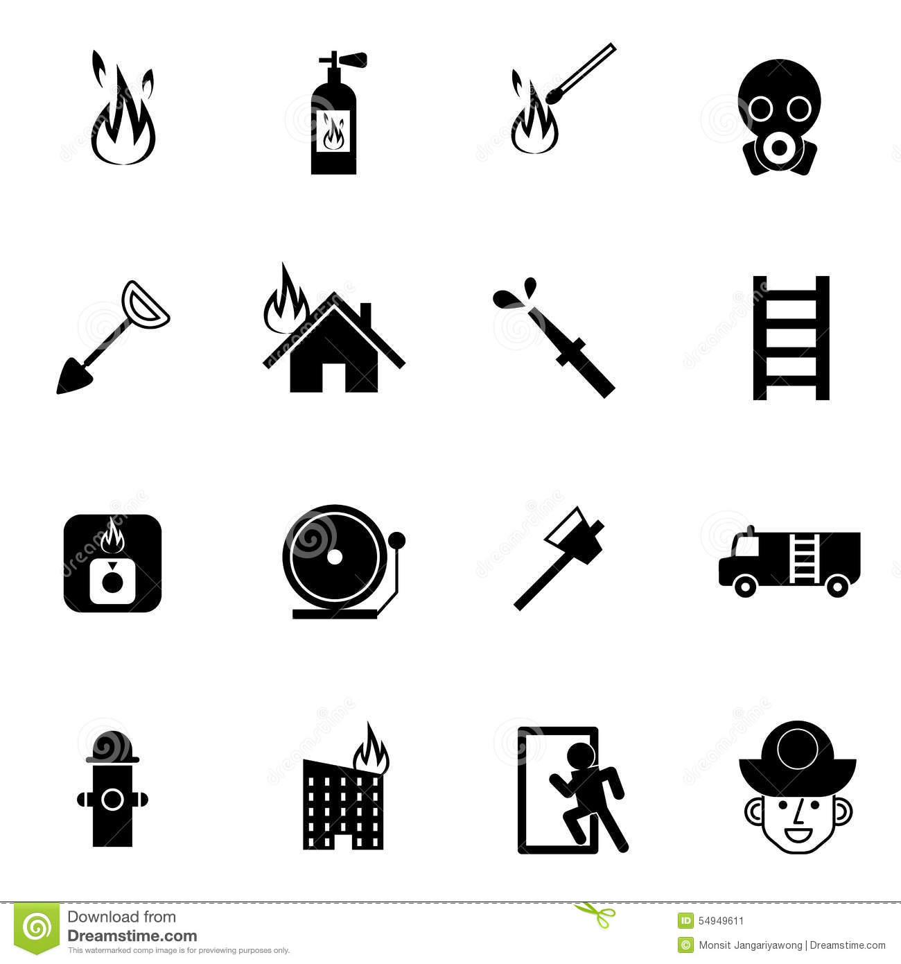 Fire fighter and emergency rescue icons set vector illustration