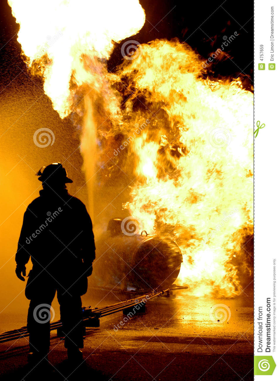 Fire Fighter and Flames
