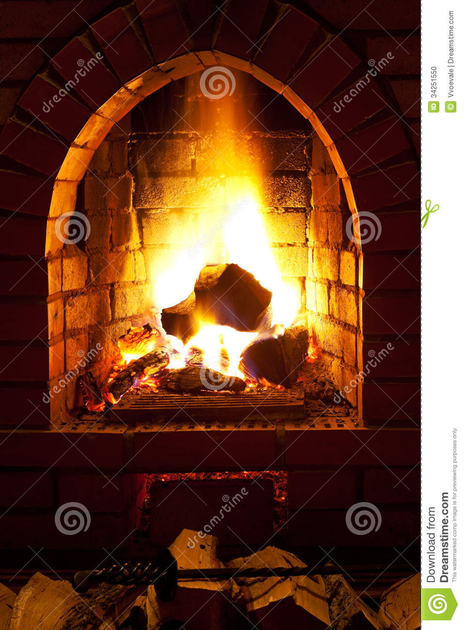 fire in fireplace stock photo image 34251550