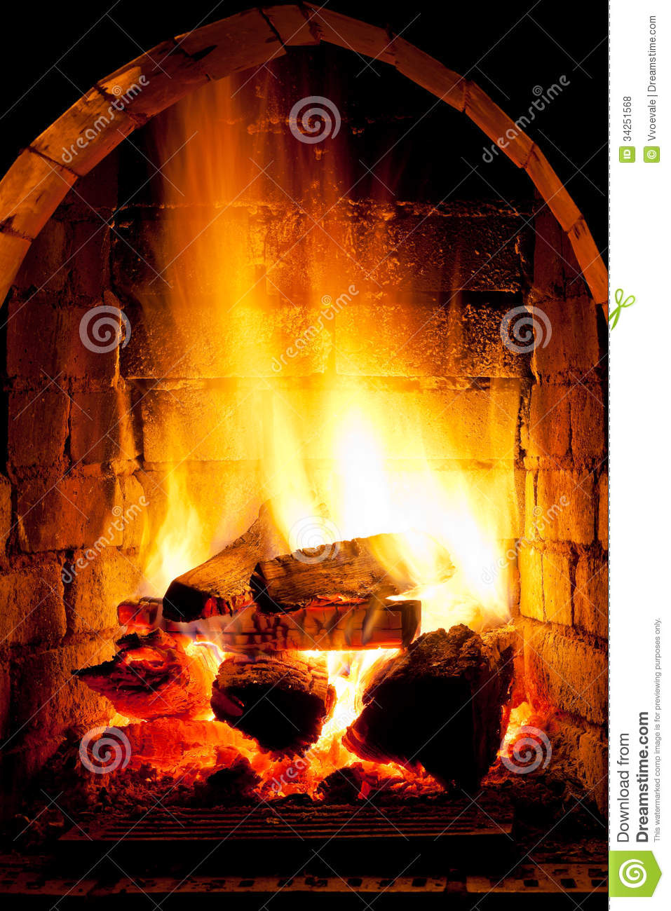 fire in fireplace royalty free stock photos image 34251568