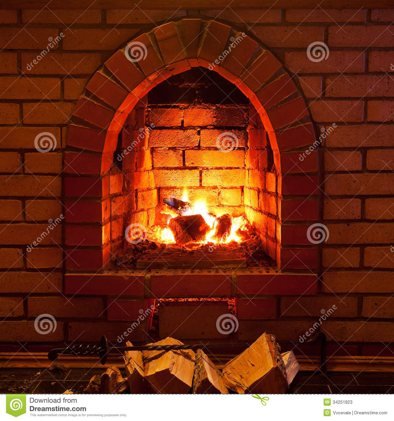 fire in fireplace stock image image of indoor brick 34251823