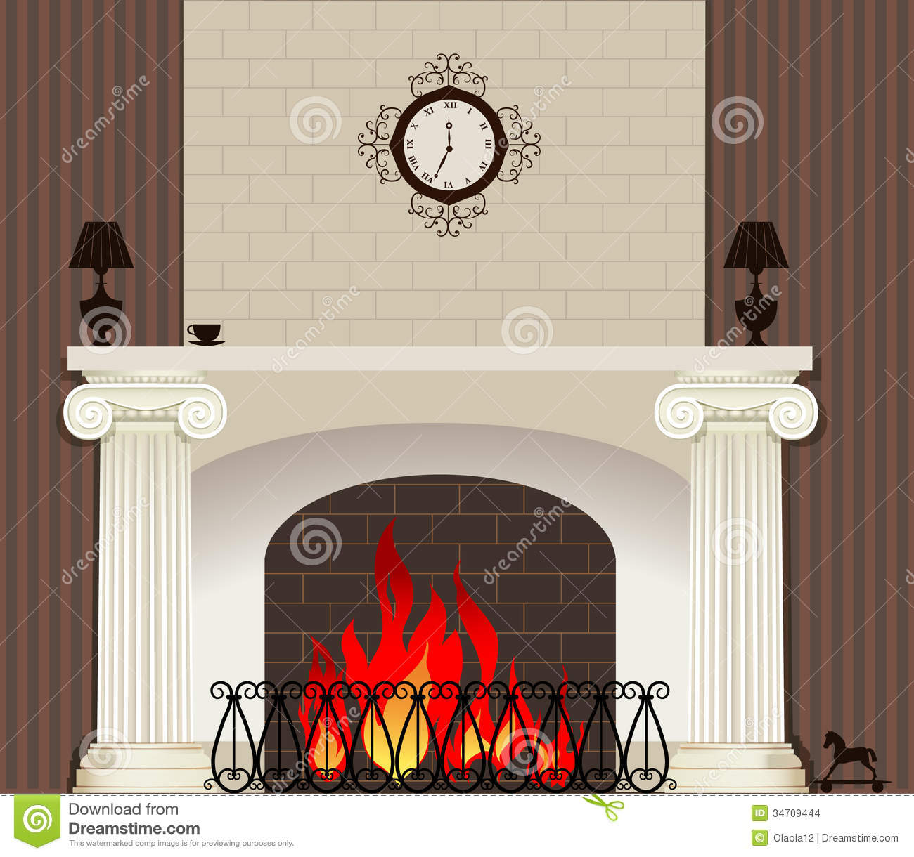 Fire in fireplace stock vector. Image of abstract ...
