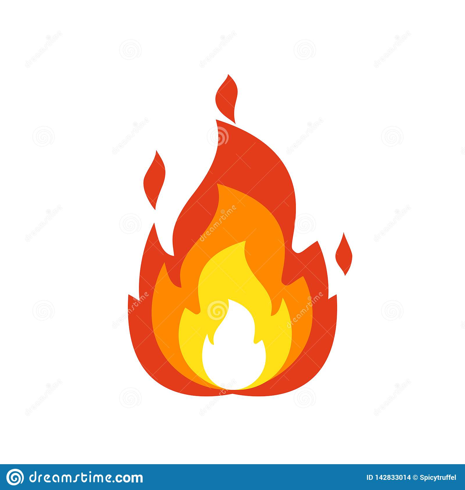 Fire flame icon. Isolated bonfire sign, emoticon flame symbol isolated on white, fire emoji and logo illustration