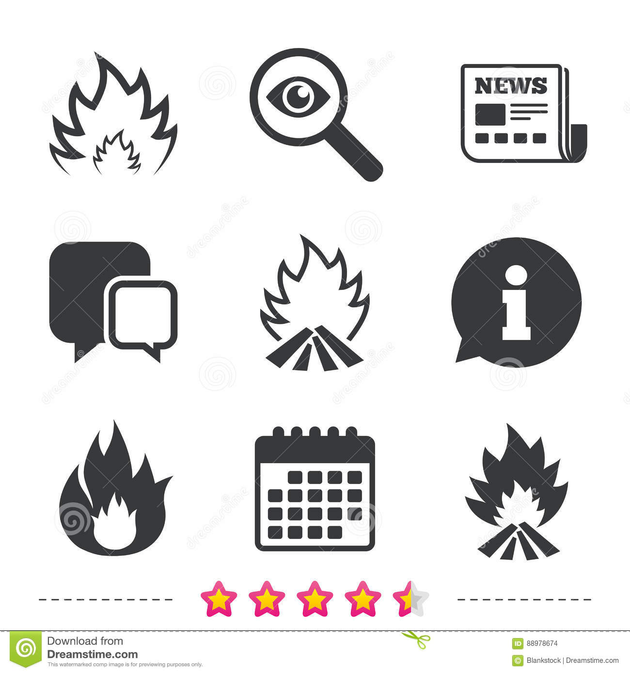 fire flame icons  heat signs  cartoon vector