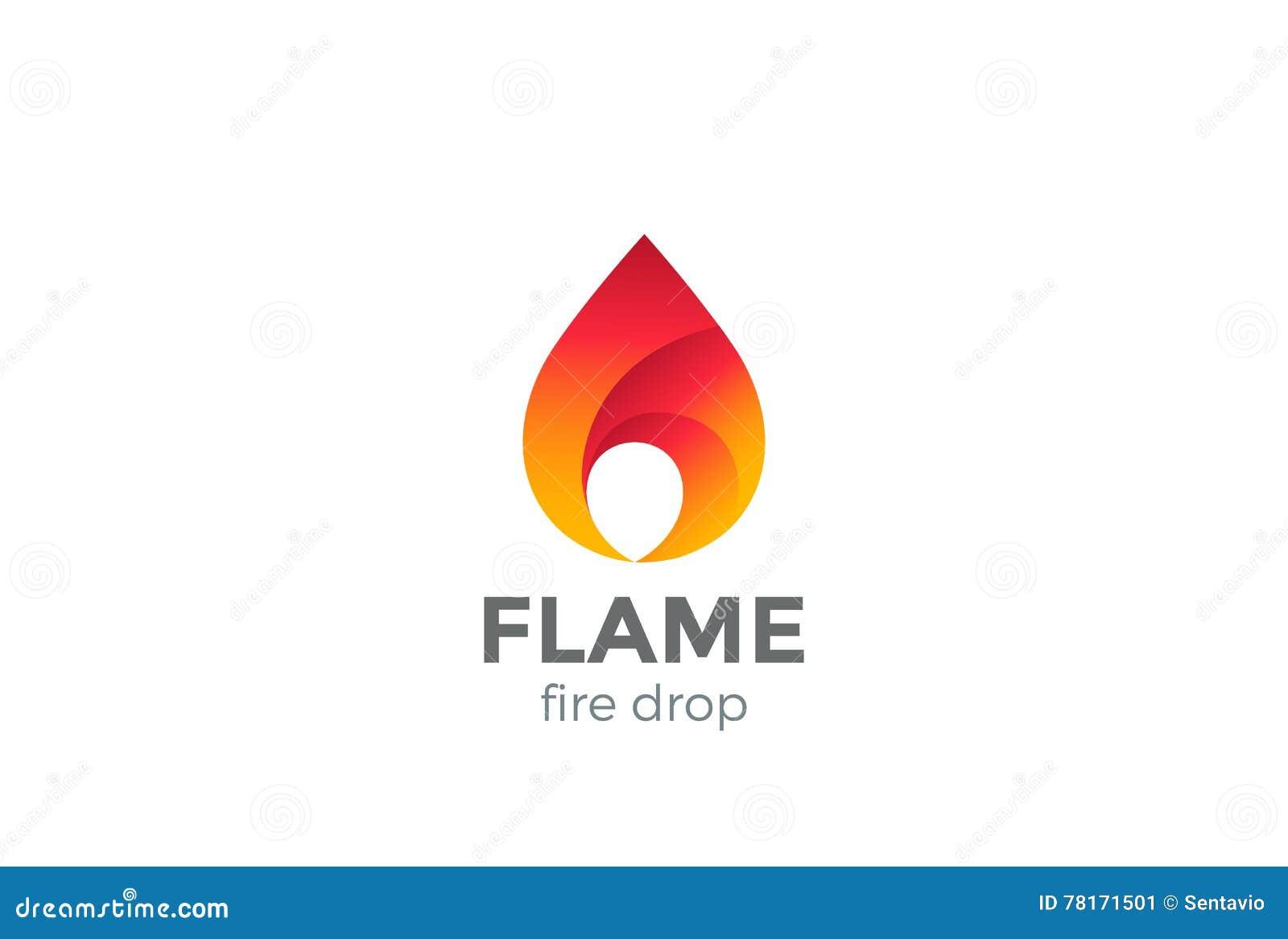 Fire Flame Logo Design Vector Droplet  Red Drop Stock Vector