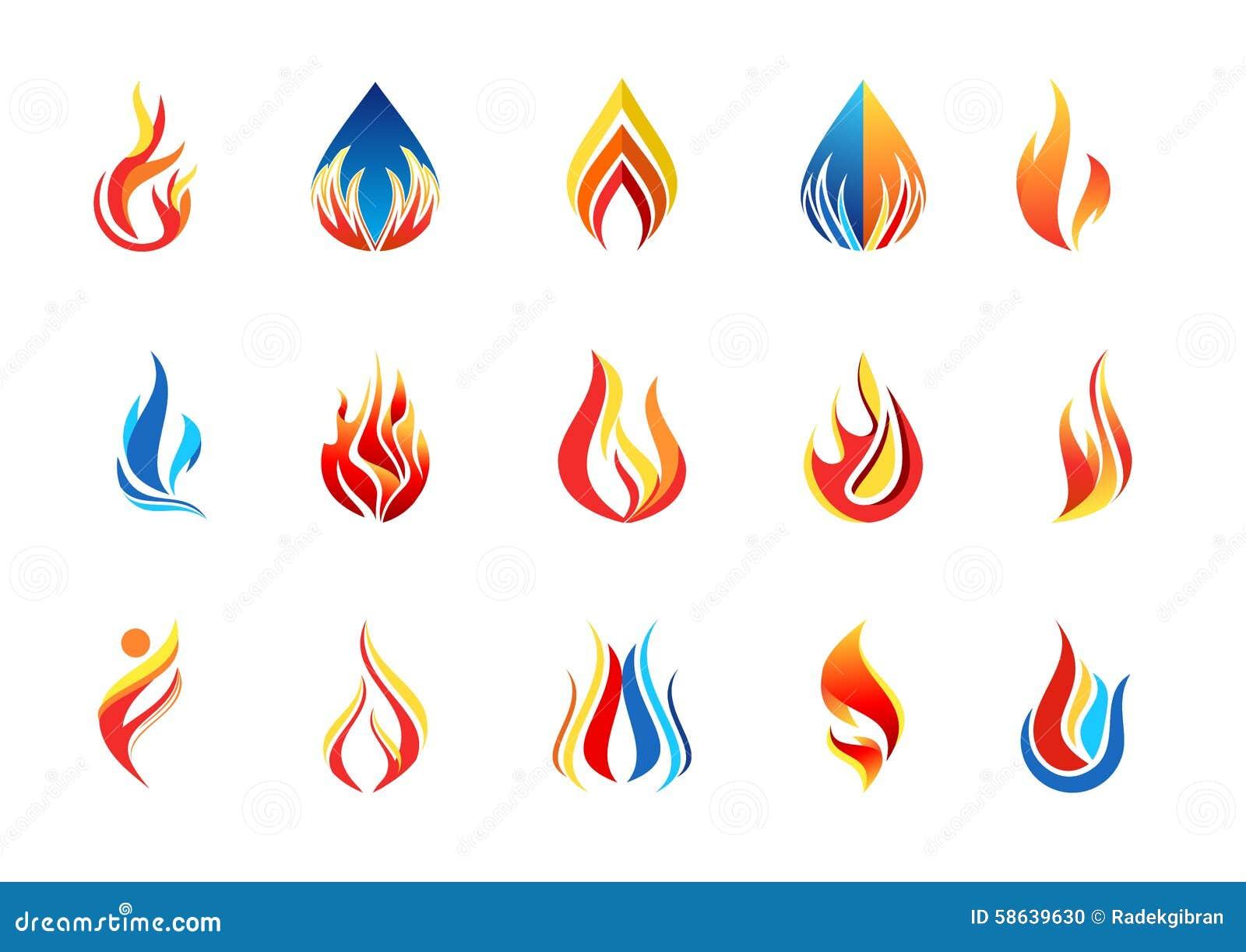 fire flame logo, modern flames collection logotype symbol icon design vector