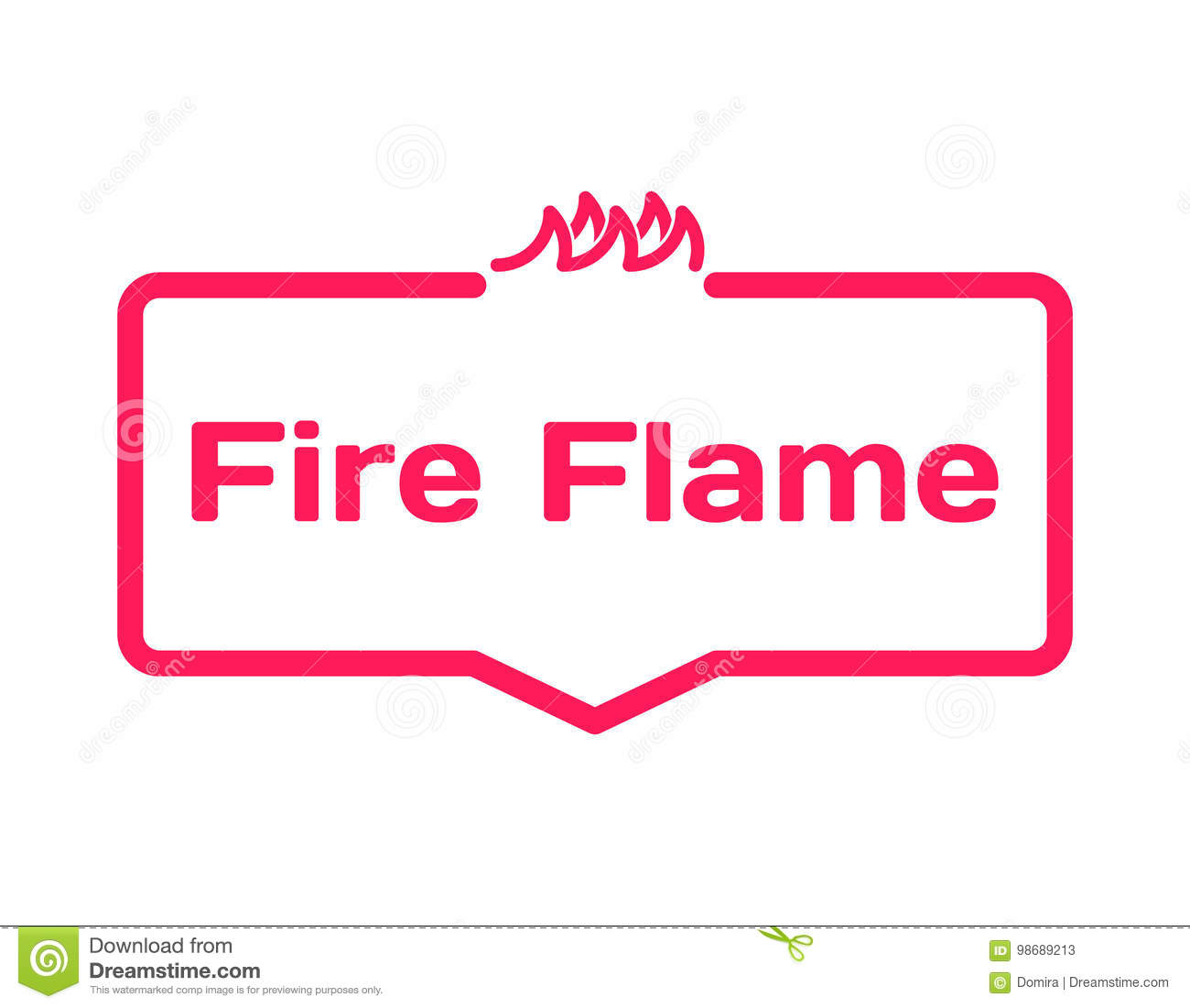 fire flame template dialog bubble flat style on white background