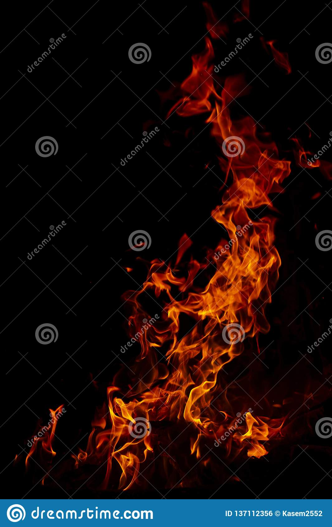 Fire flames on Abstract art black background texture, Burning red hot sparks rise from large fire in, Fiery orange glowing