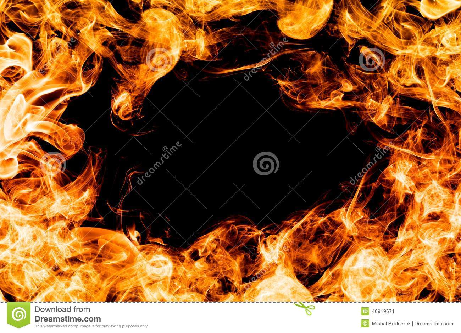 fire flames on black background frame border stock