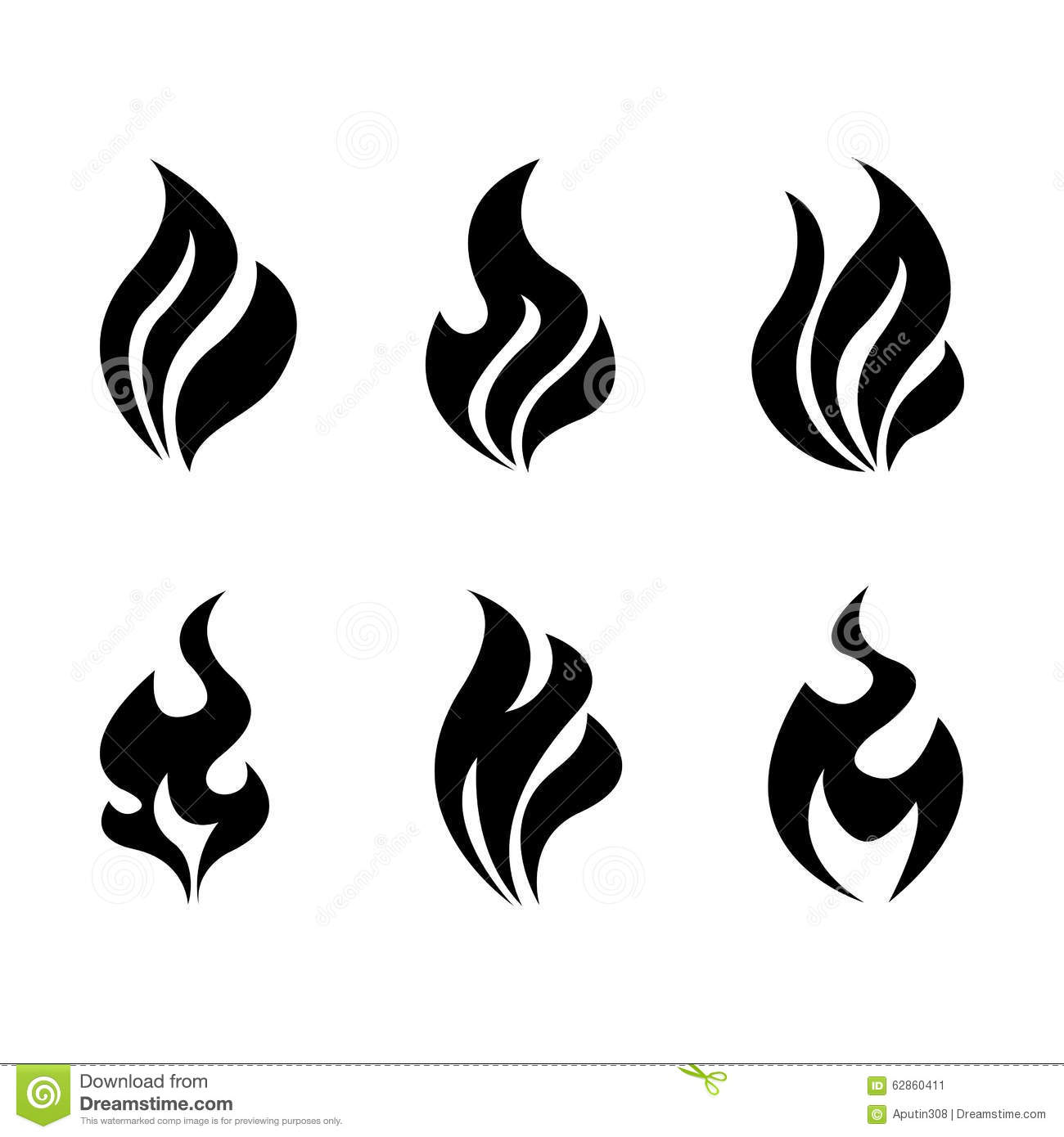 fire and flames burning vector icon set stock vector
