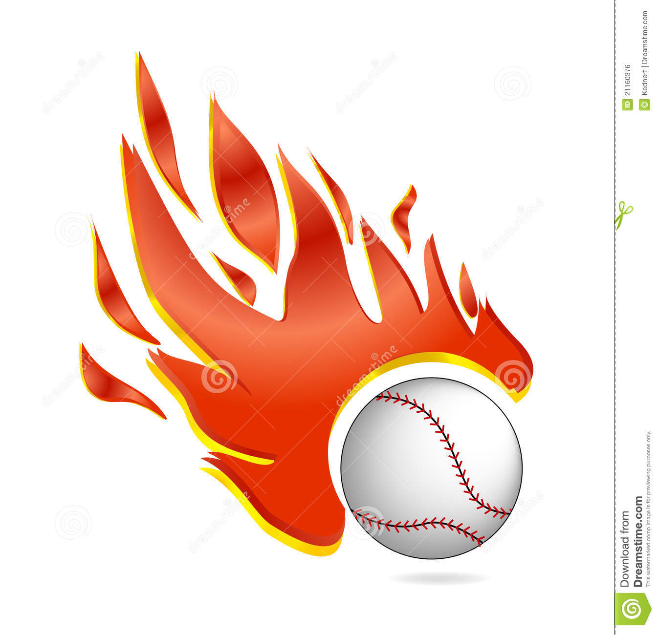 Fire And Fly Baseball Ball Symbol White Color Royalty Free