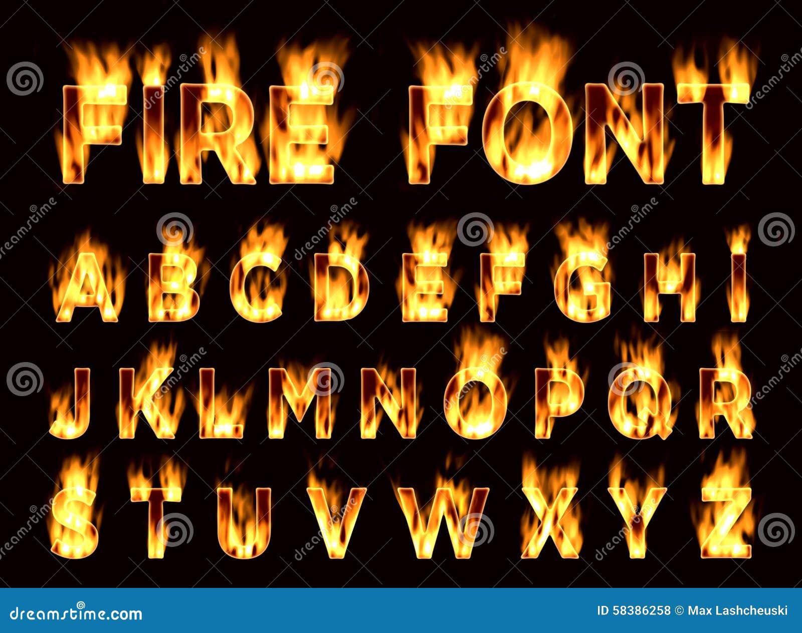 Fire font set. Flame alphabet stock illustration illustration of.