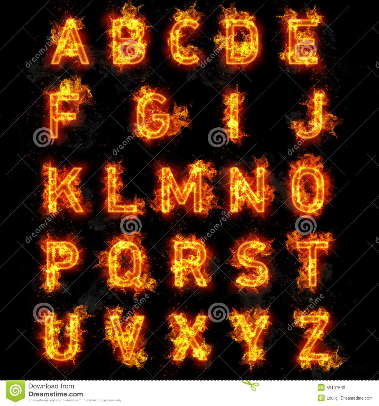 Fiery font flame abc, burning alphabet vector illustration of.