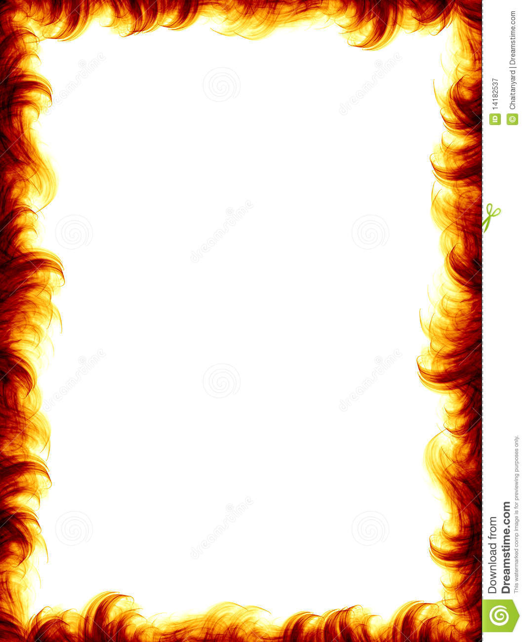 The fire border on white background, burning flames design.