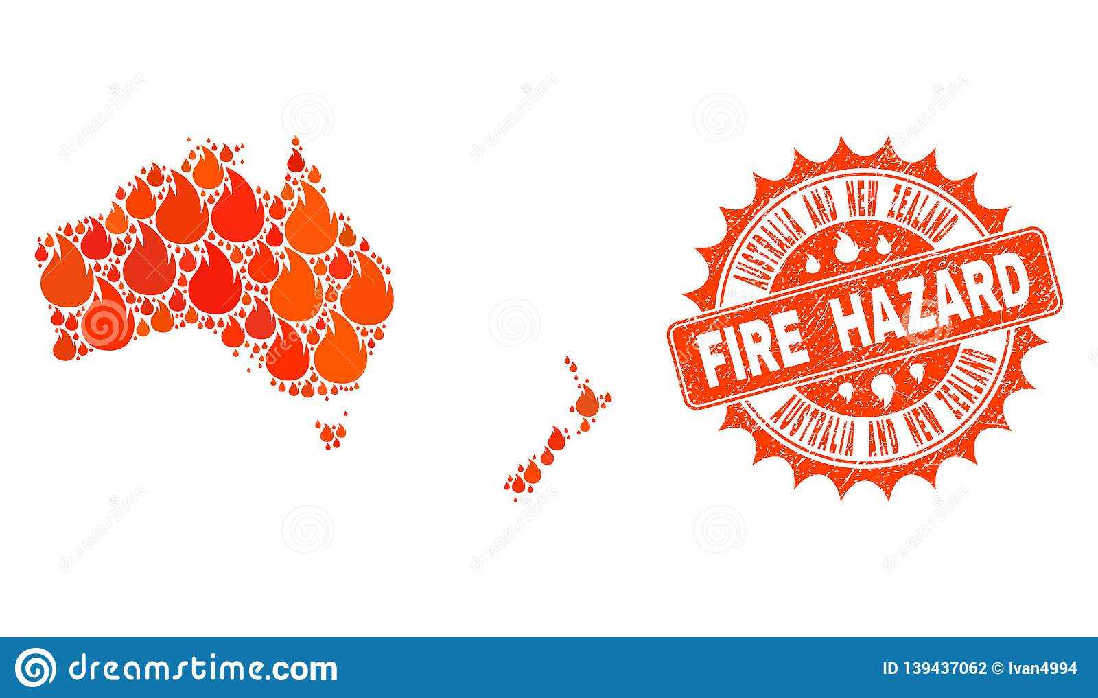 Collage Of Map Of Australia And New Zealand Burning And Fire Hazard ...