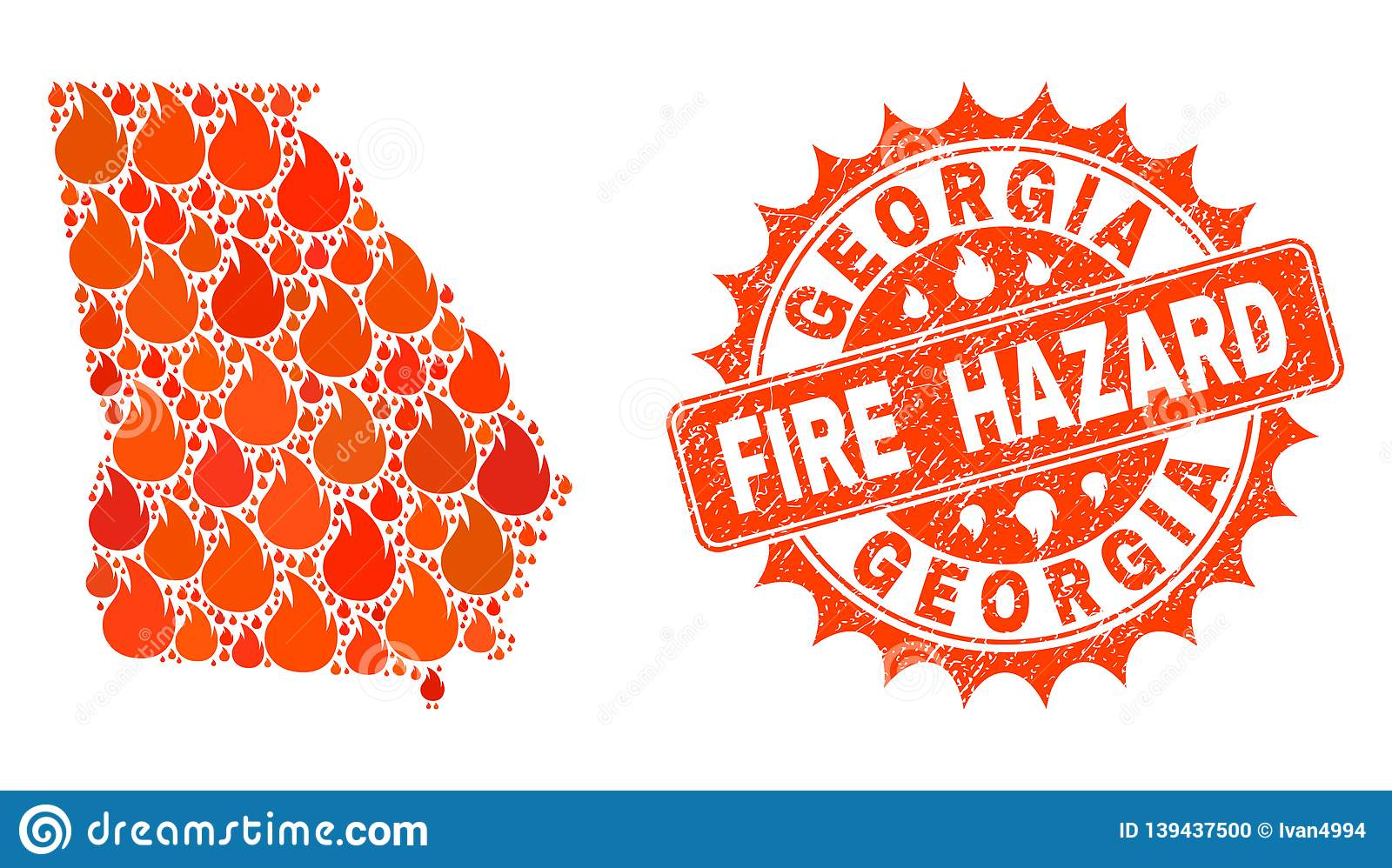 Map Of Georgia Fire.Composition Of Map Of Georgia State Burning And Fire Hazard Grunge