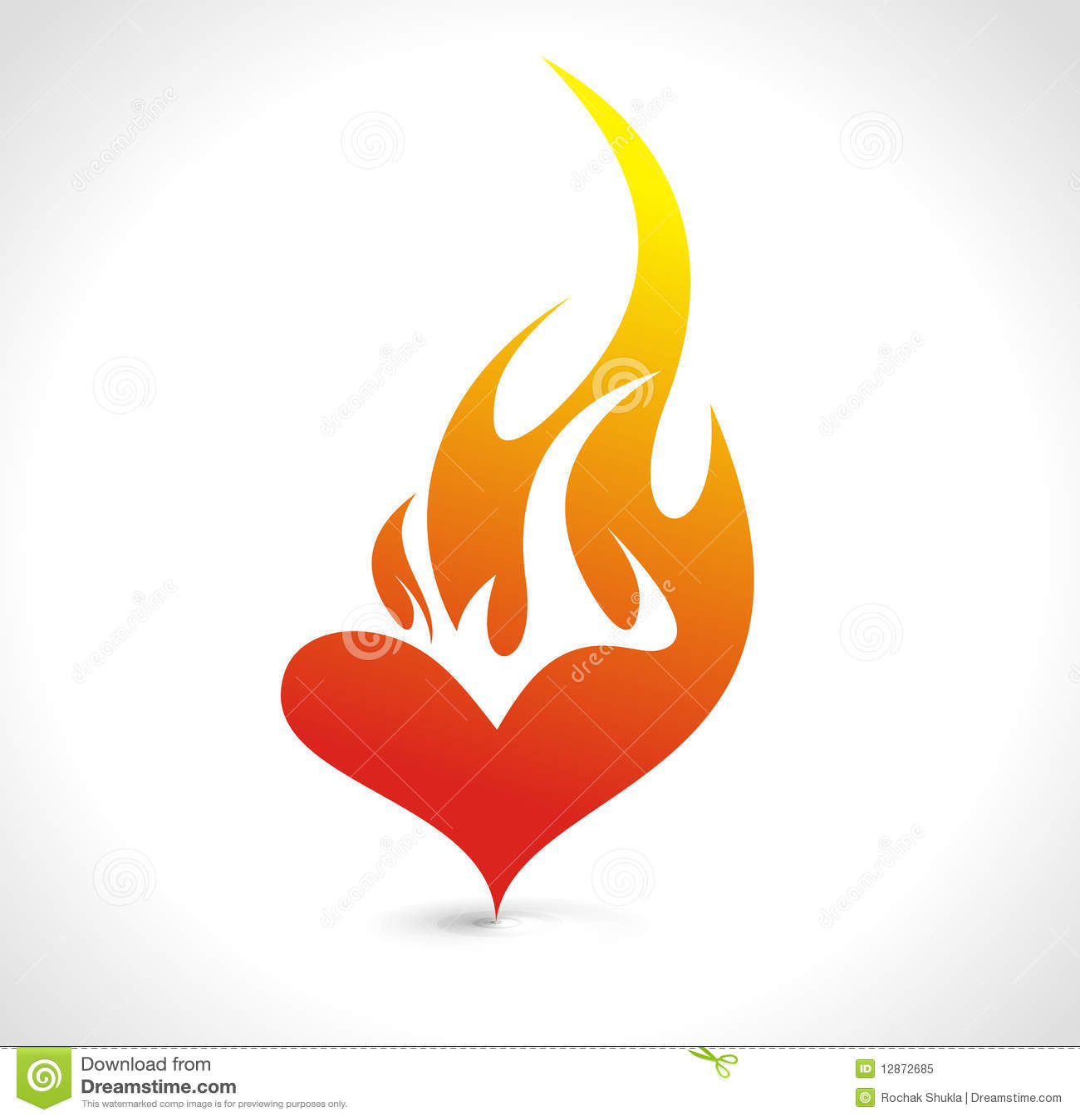 Fire heart stock vector. Illustration of blazing, icon ...