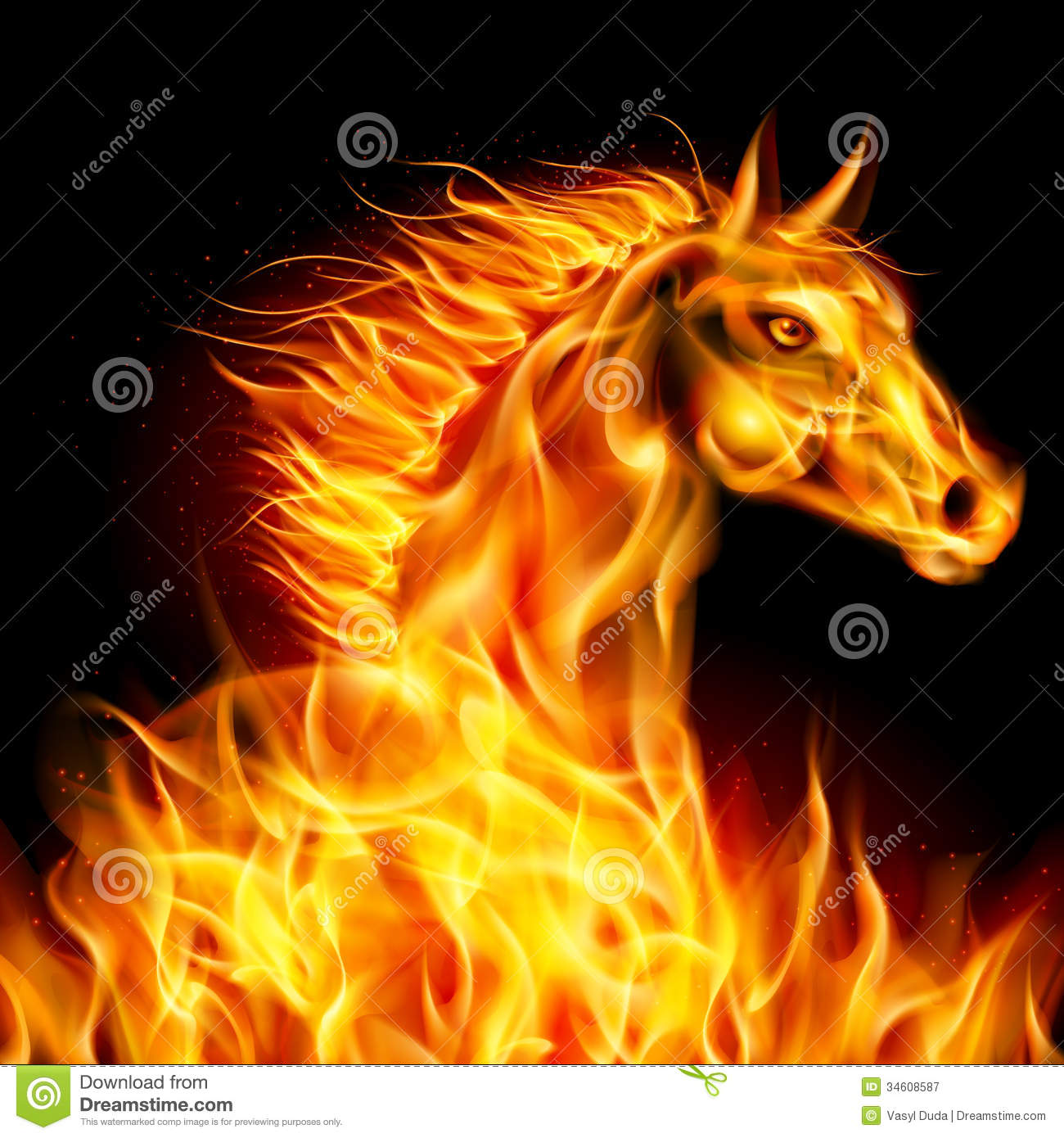 Fire Horse. Royalty Free Stock Photography - Image: 34608587