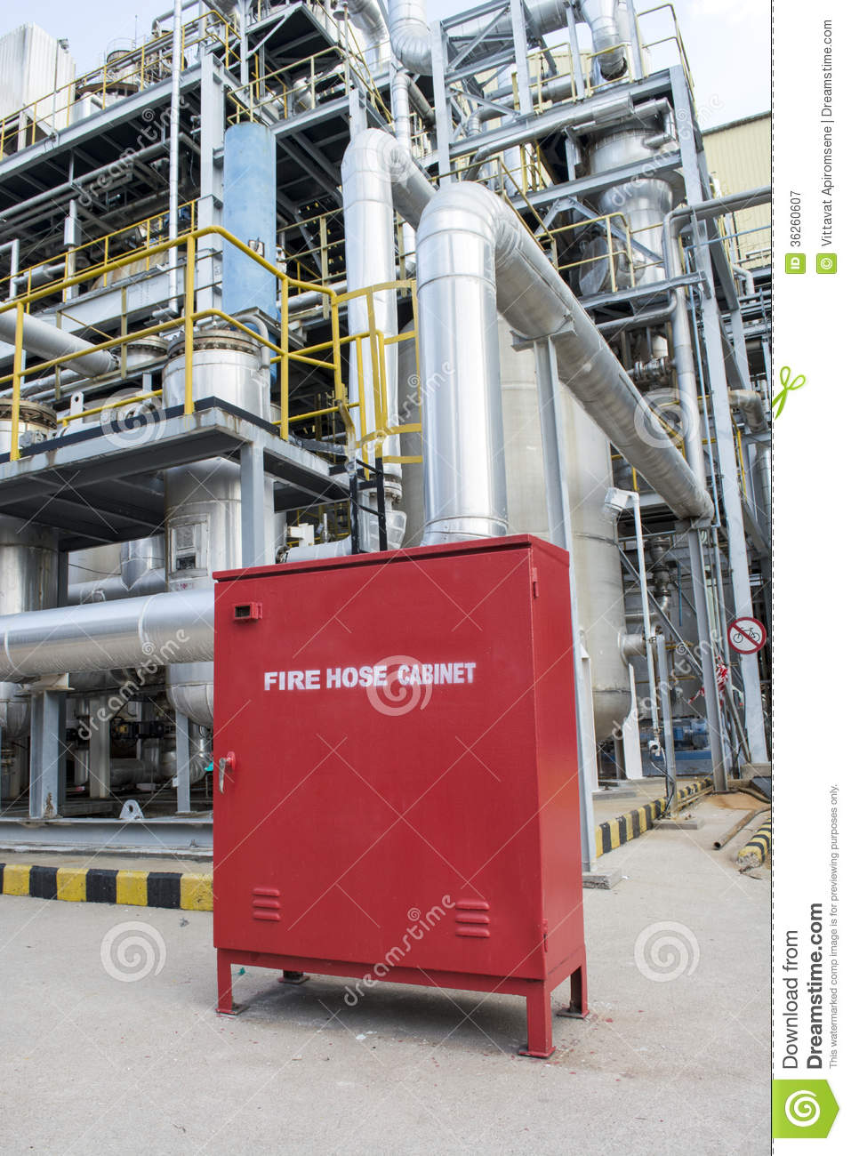 Fire Hose Cabinet In A Factory Plant Stock Image Image