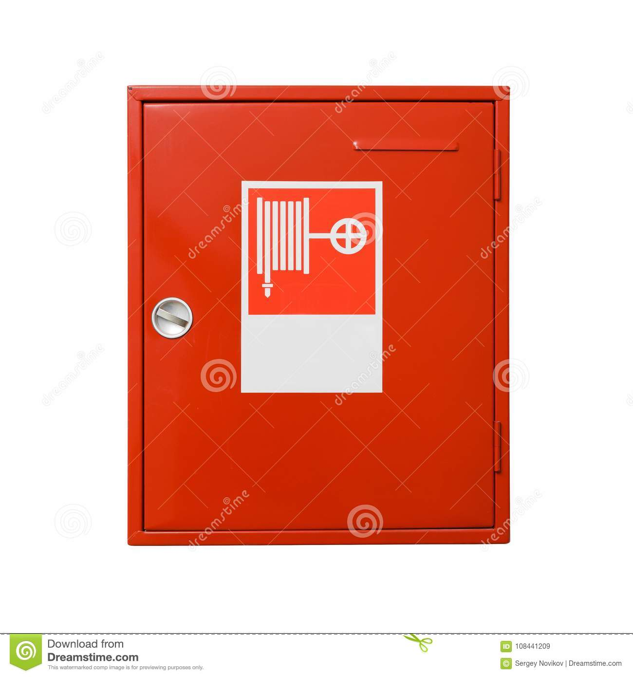 Fire hose cabinet isolated on white background. Include clipping path