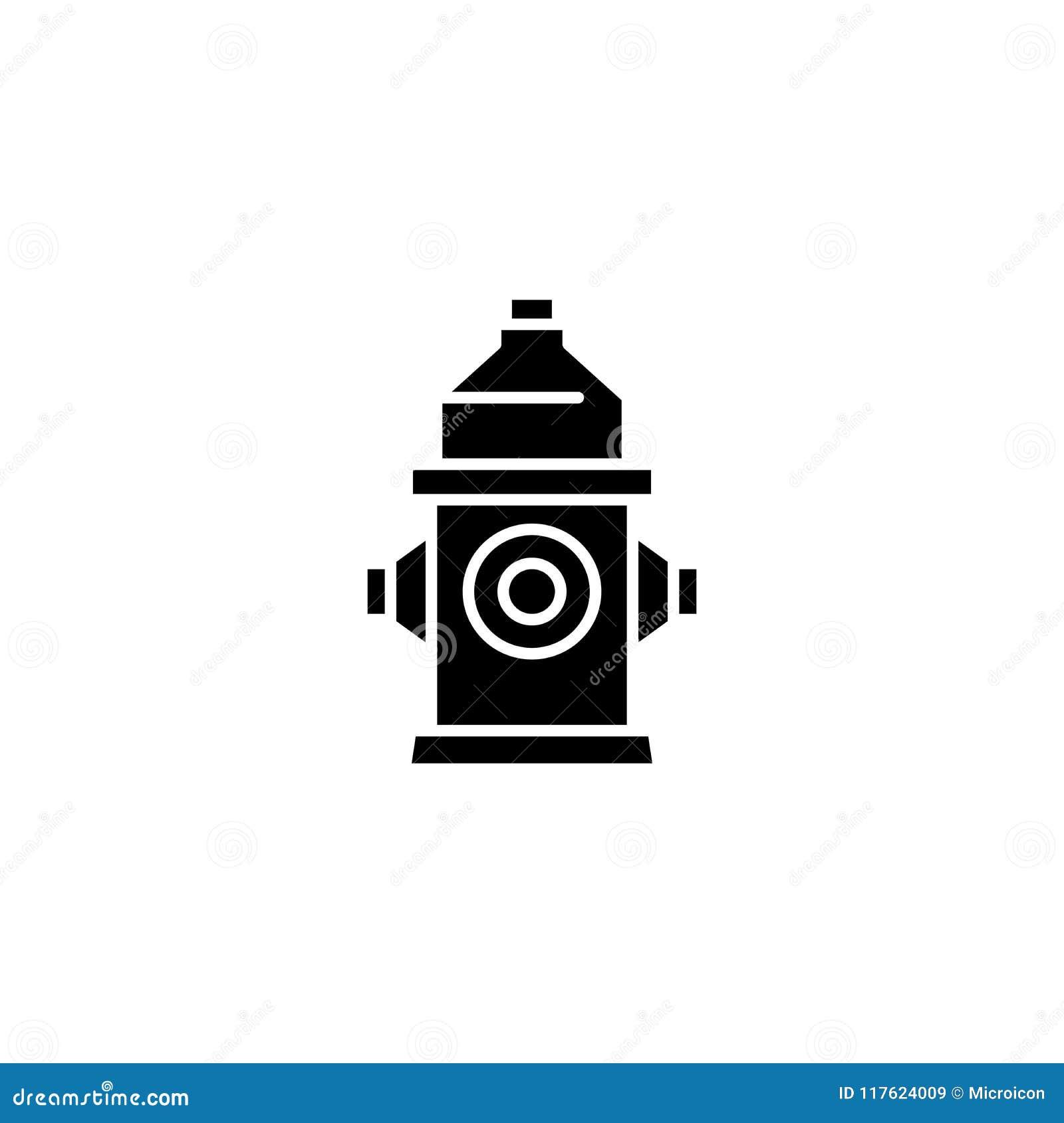 Fire Hydrant Black Icon Concept Fire Hydrant Flat Vector Symbol