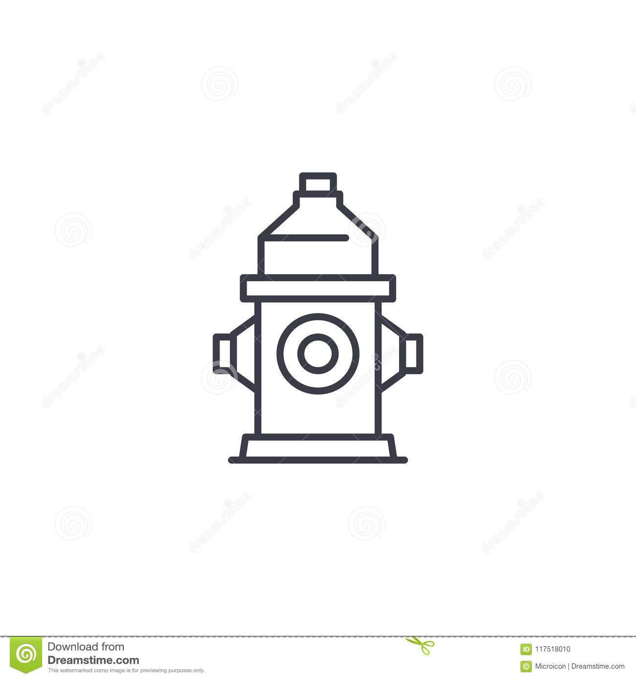 Fire Hydrant Linear Icon Concept Fire Hydrant Line Vector Sign