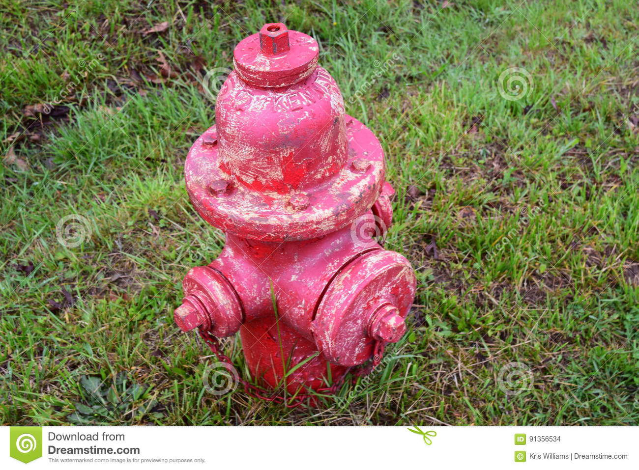 Fire hydrant needing a paint job