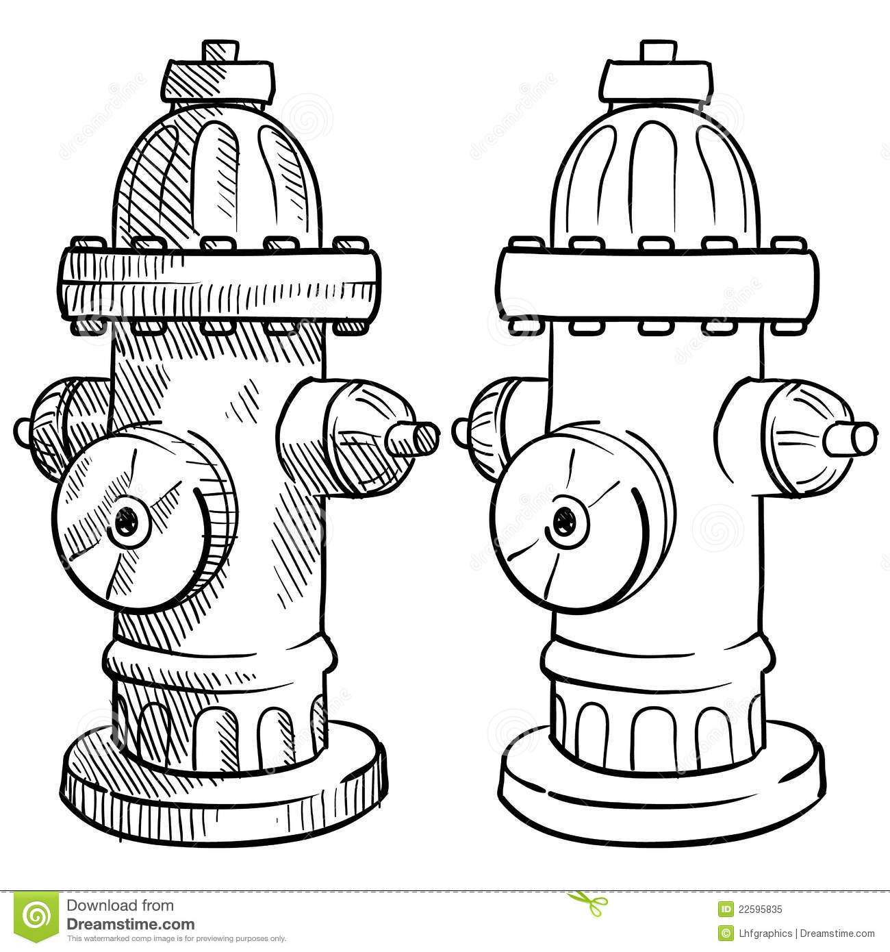 Fire hydrant sketch stock vector illustration of for Fire hydrant coloring page