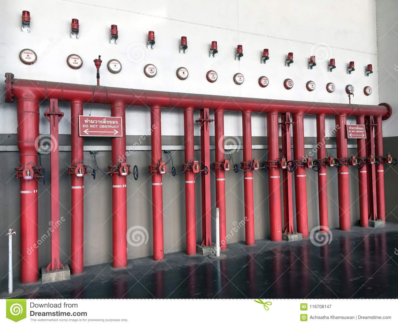 Fire hydrant system composed of red iron fire pipe, Switch for water, sprinkler alarm and fire alarm.