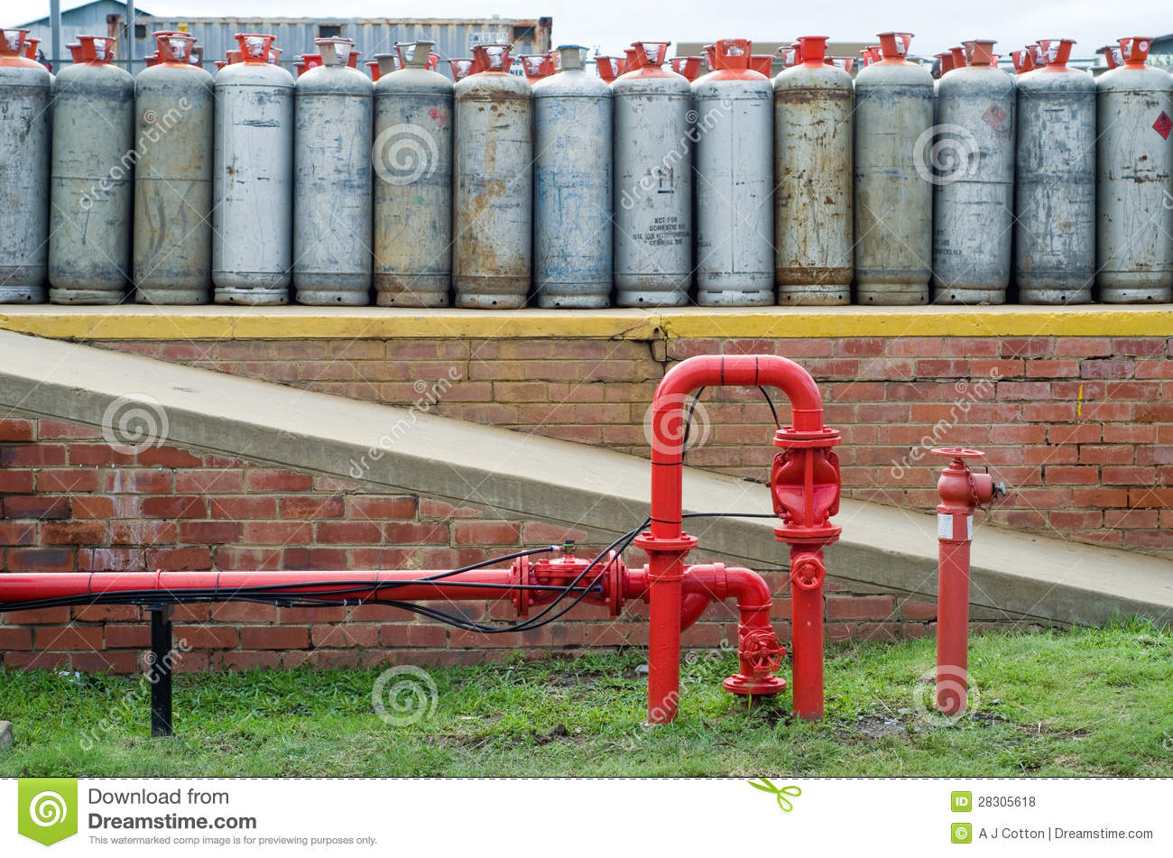 Fire Hydrant Water Pipe In Front Of Lpg Gas Bottles Stock ...