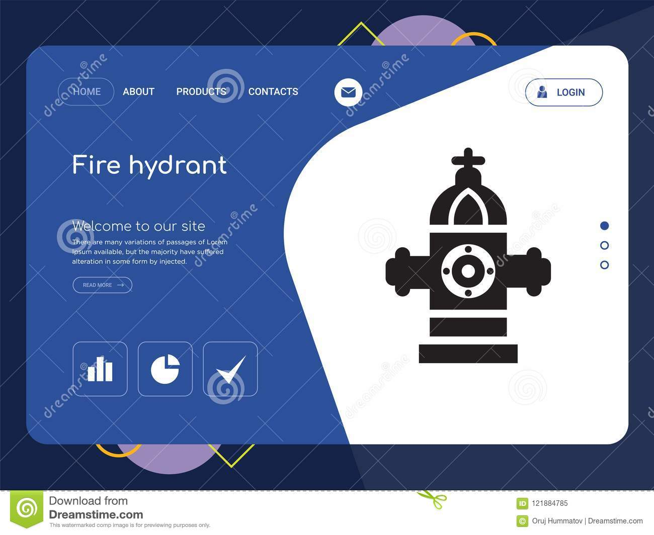 fire hydrant website template vector modern web design with