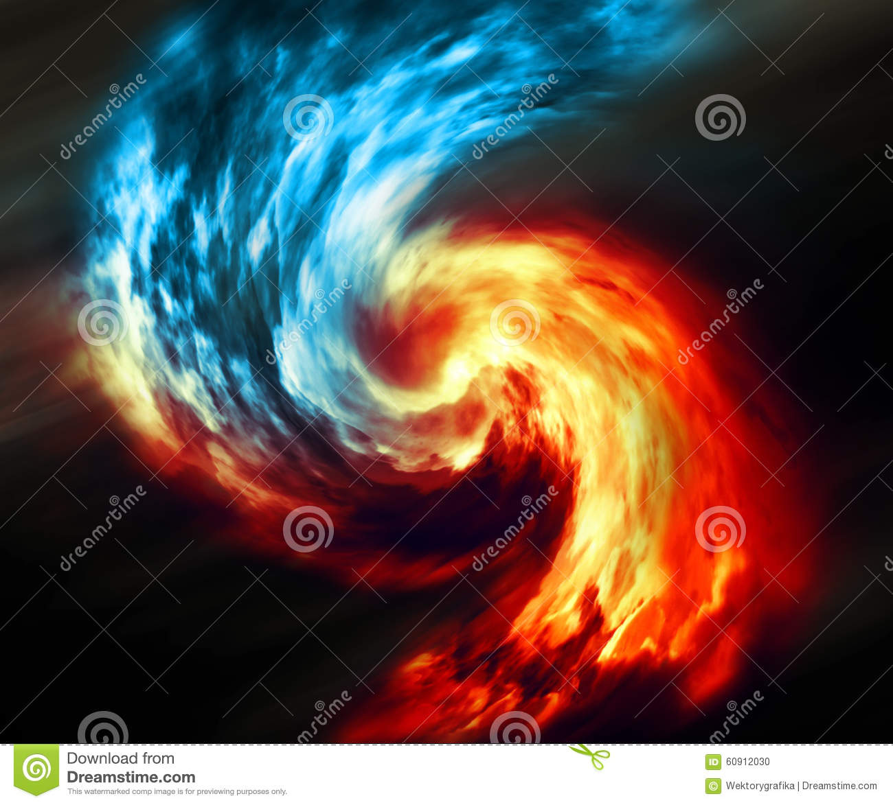 fire and ice abstract background red and blue smoke swirl