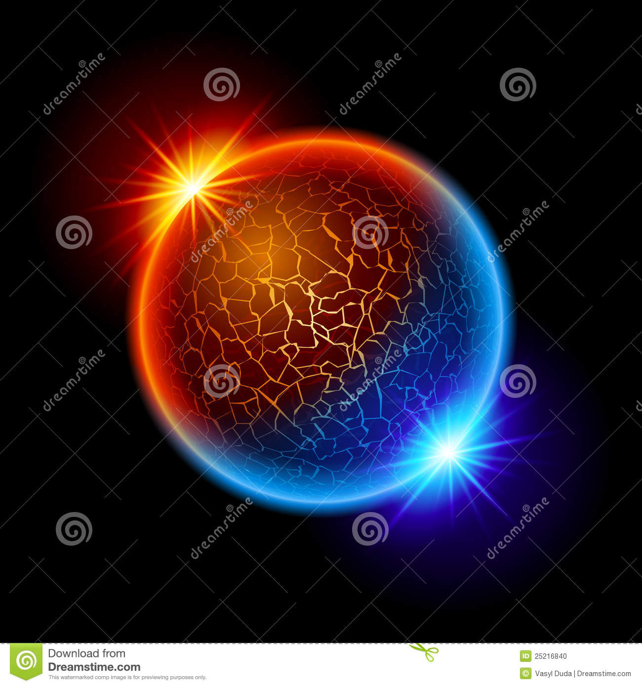 Fire and ice ball planet stock vector. Image of global - 25216840
