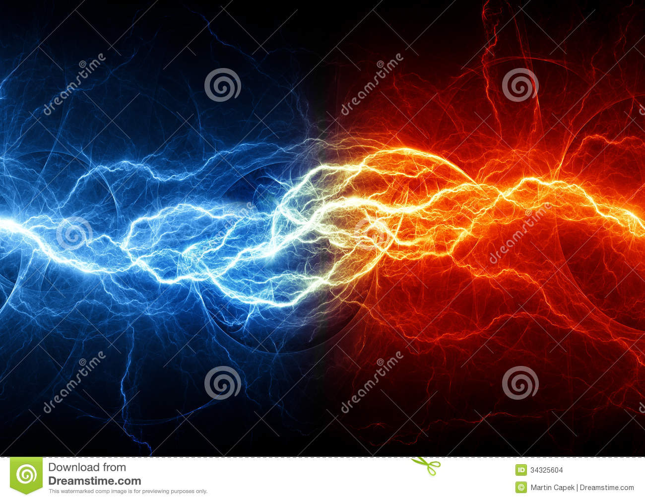 Fire And Ice Lightning Stock Images Image 34325604