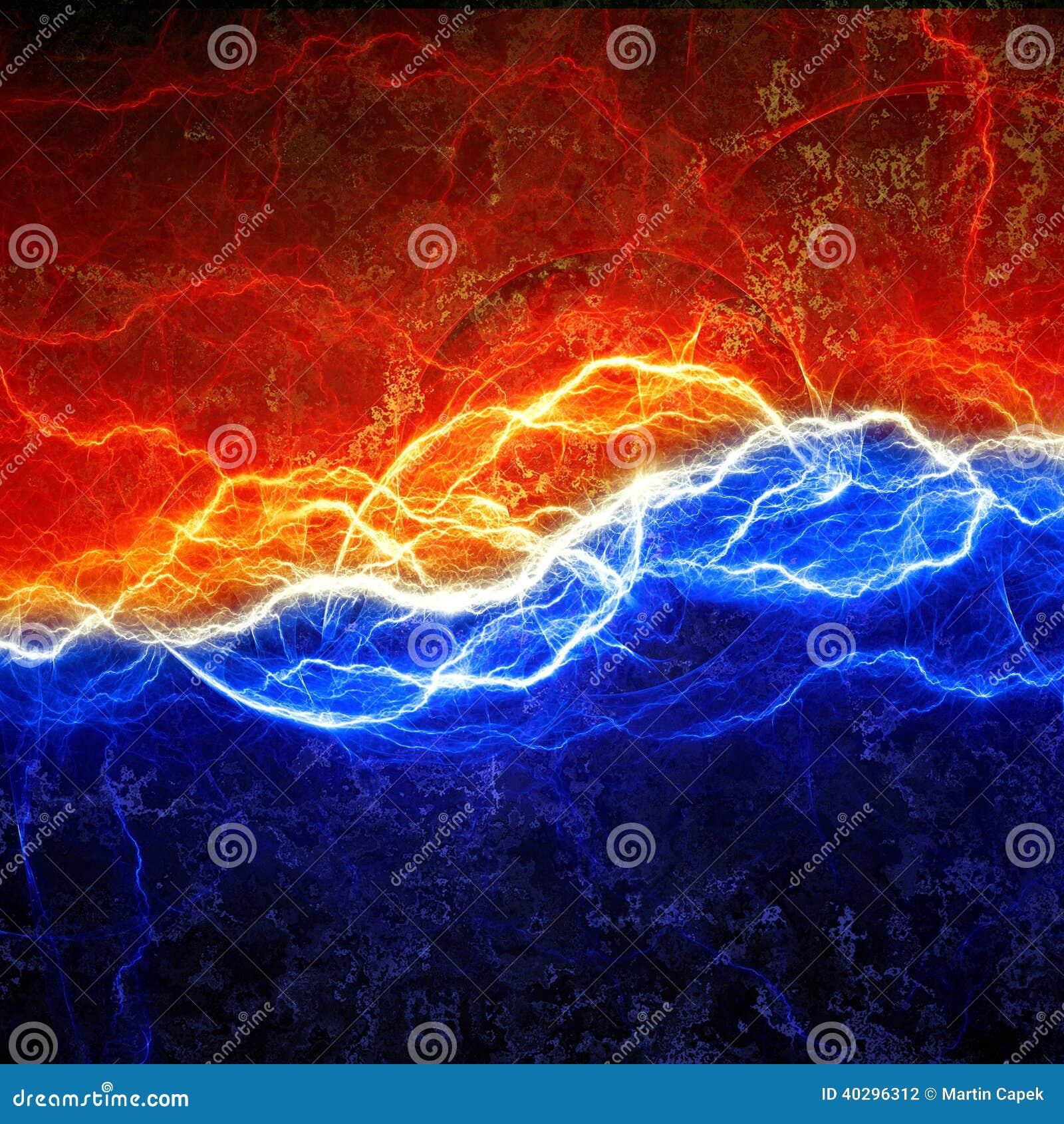 Fire And Ice Lightning Stock Illustration Illustration Of