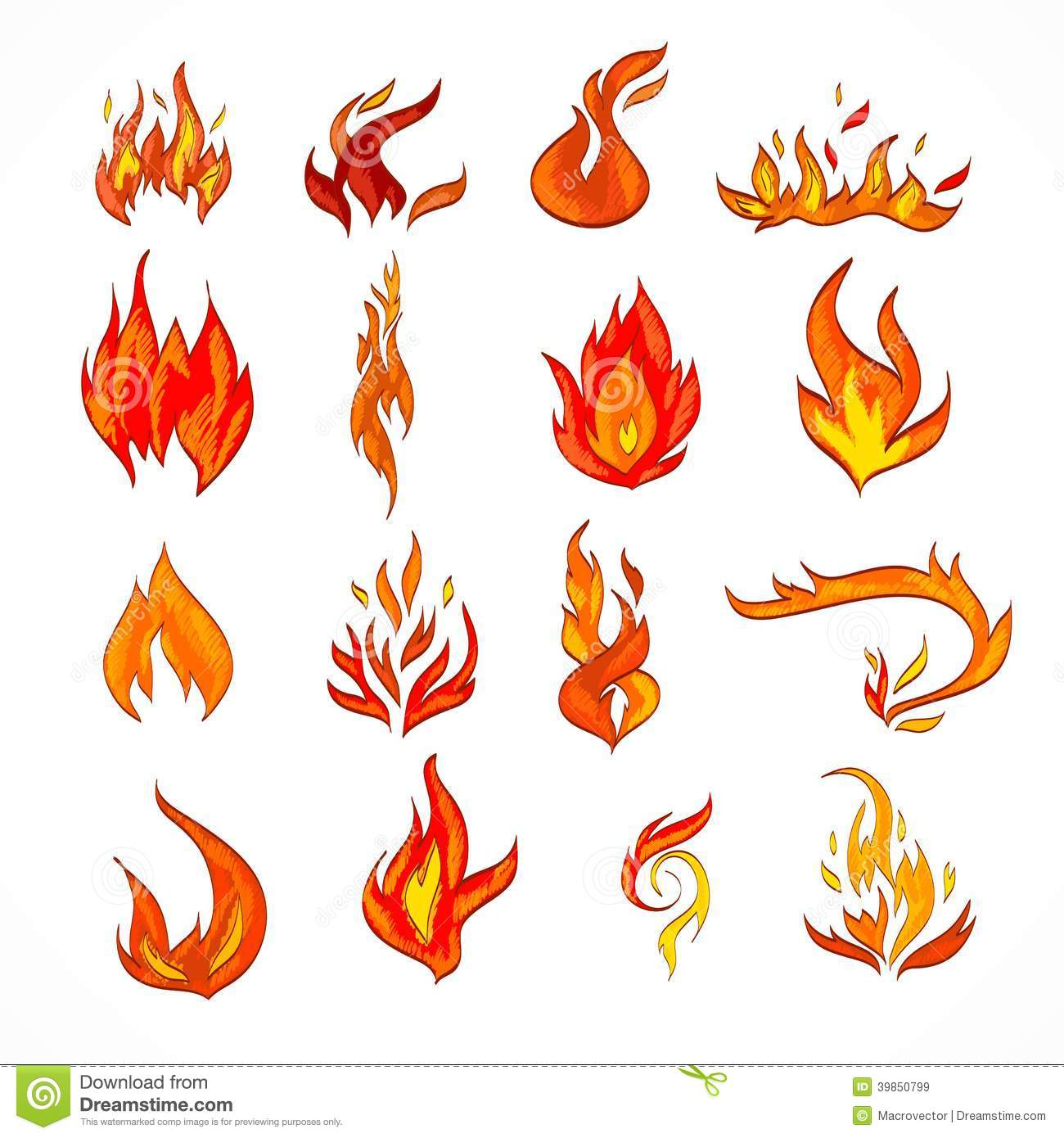 Fire flame burn flare decorative icons set isolated vector ...