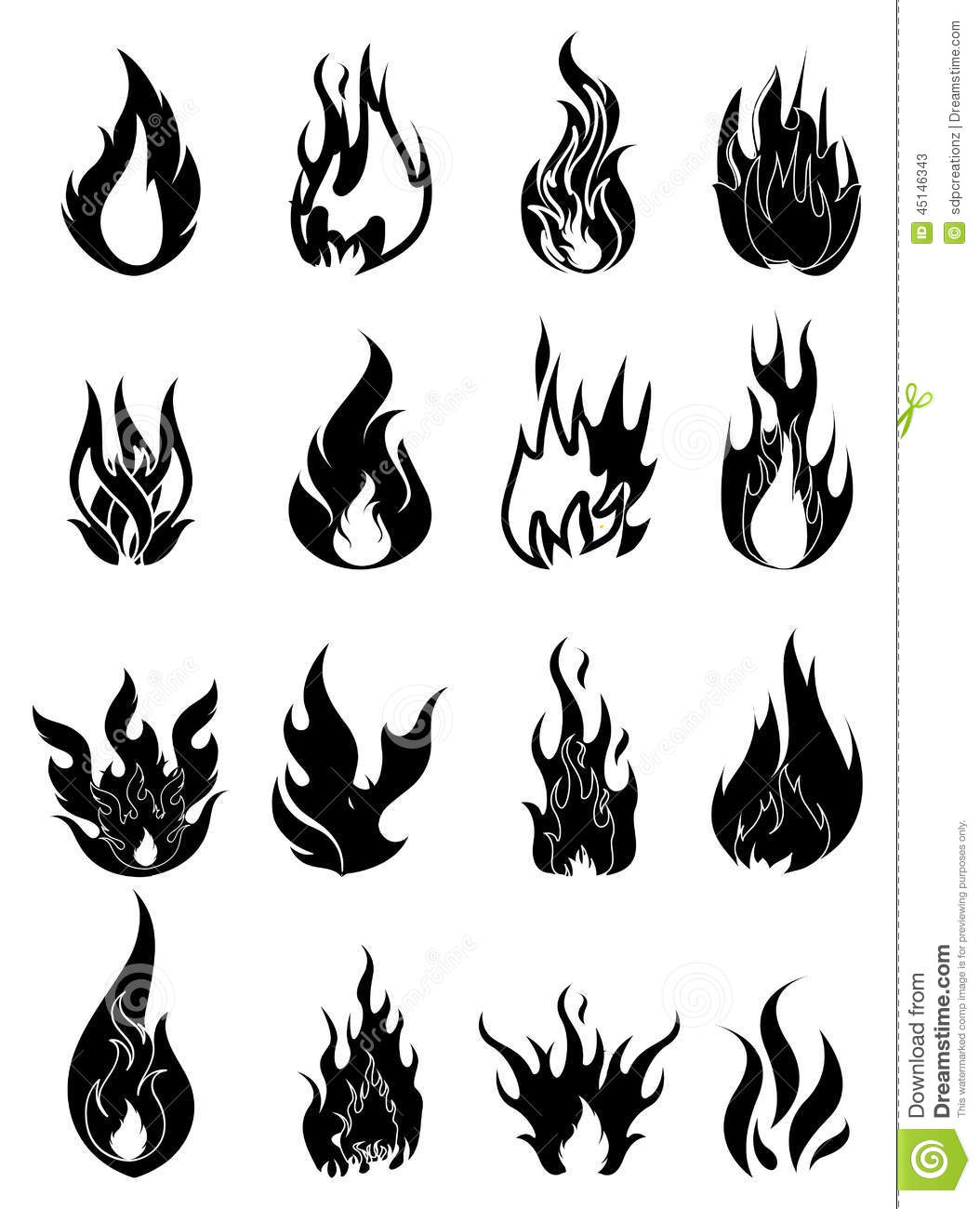 Fire Icons Set Stock Vector - Image: 45146343