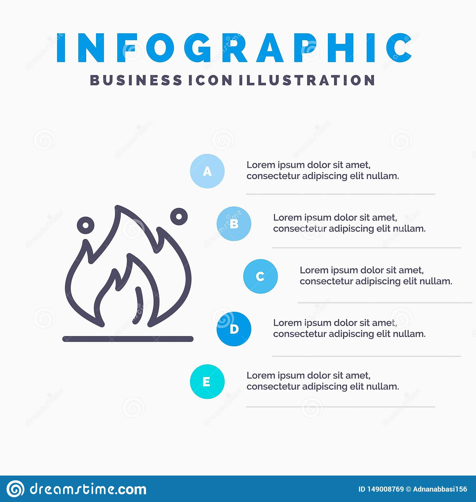 Fire, Industry, Oil, Construction Line icon with 5 steps presentation infographics Background