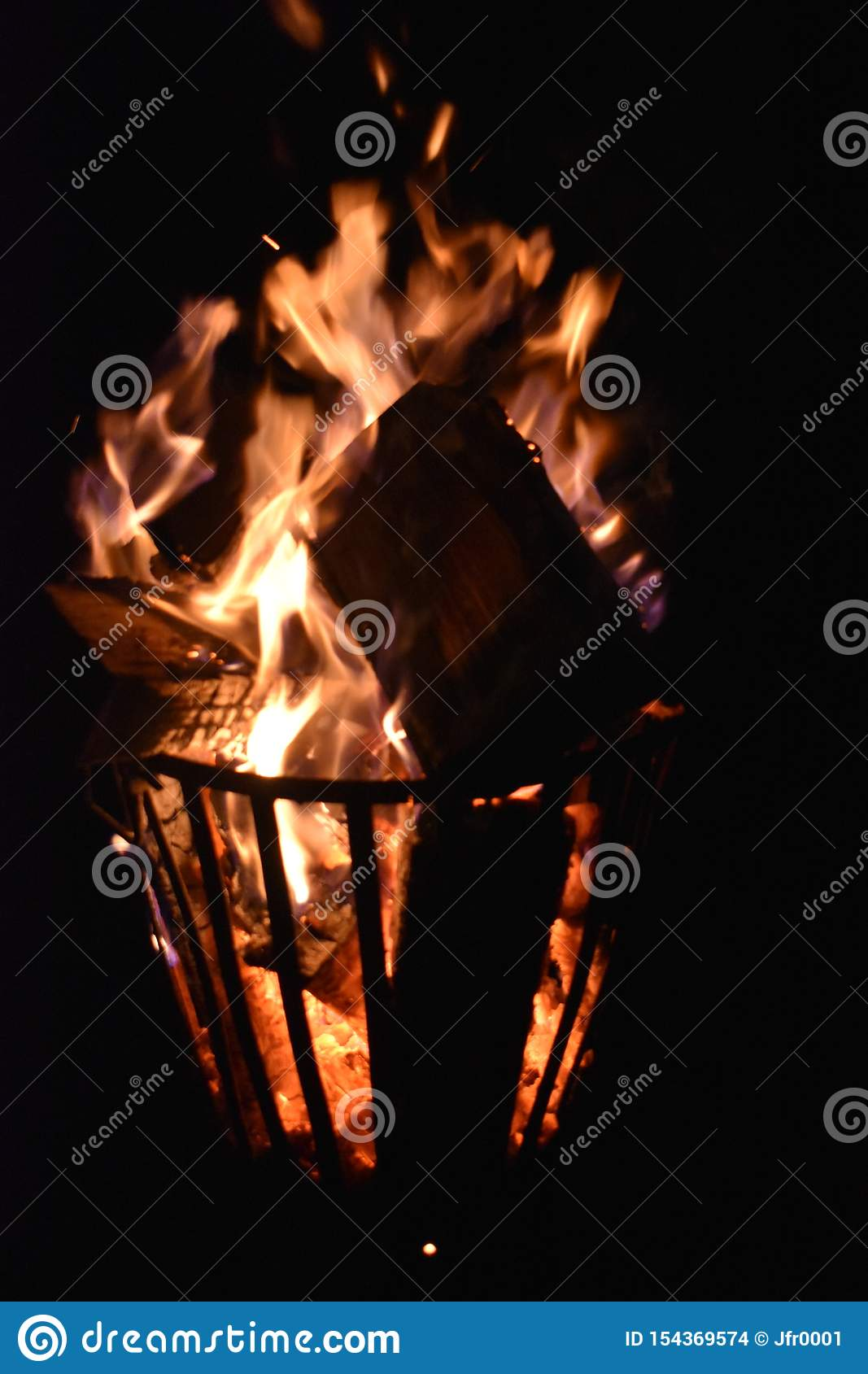 Fire in an iron fire pit