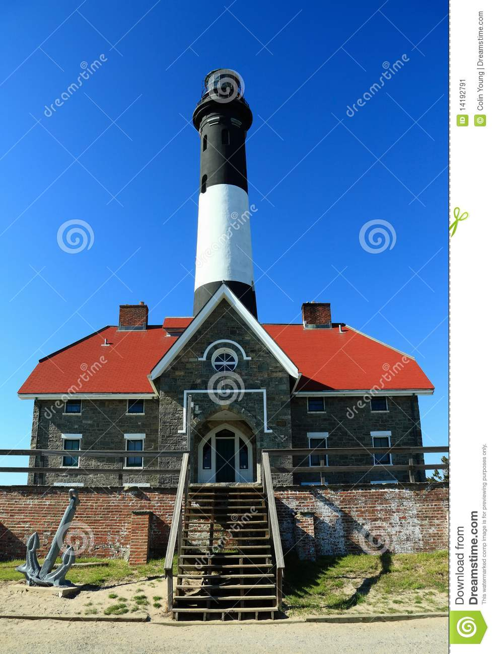 Fire Island Light Keeper's Quarters Stock Image - Image of