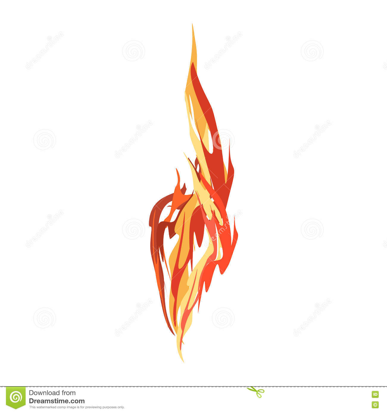 fire isolated red flames on white background stock vector