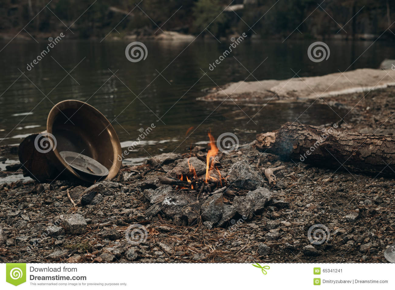 fire on the lake where gold is mined stock image image of vintage