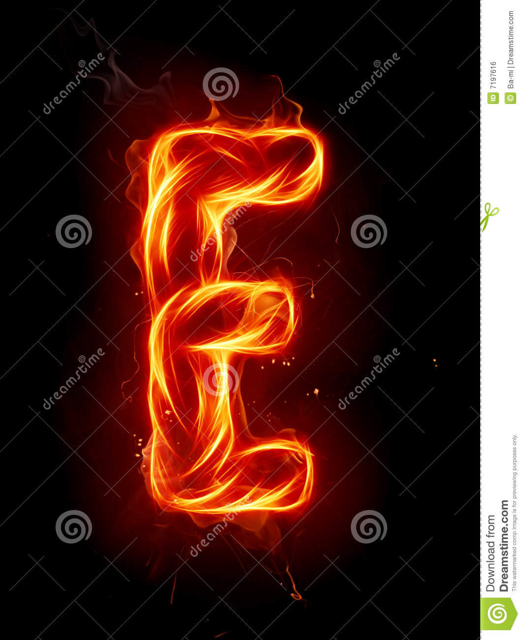 series of fiery letters and numbers.