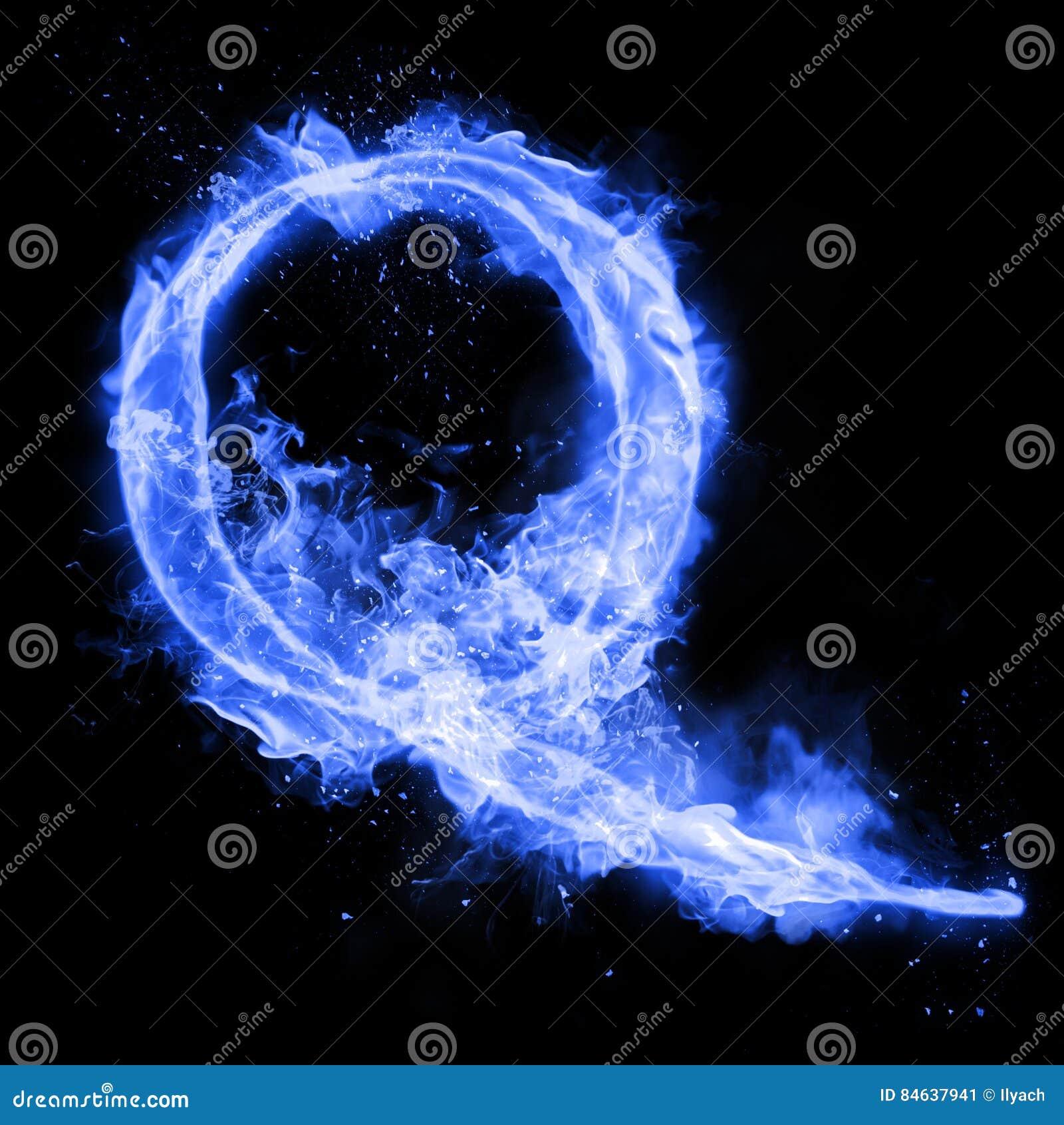Fire Letter Q Of Burning Flame Light Stock Illustration