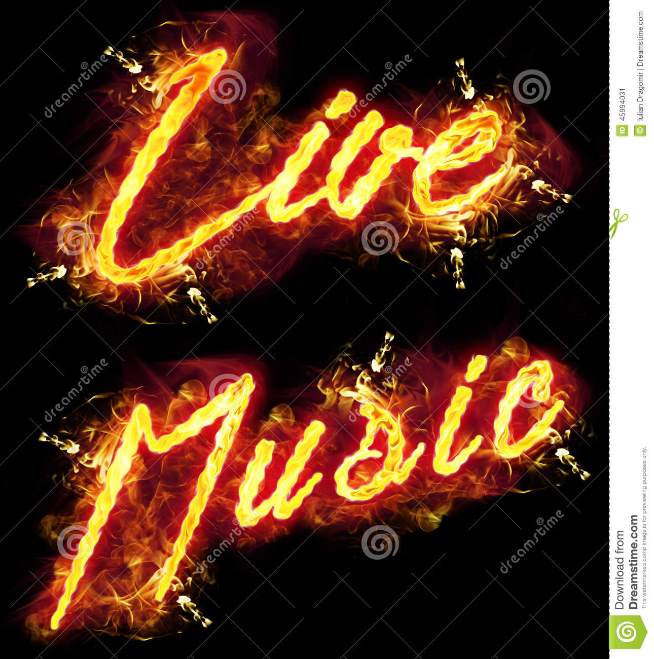 Fire Text Live Music Stock Illustration - Image: 45994031