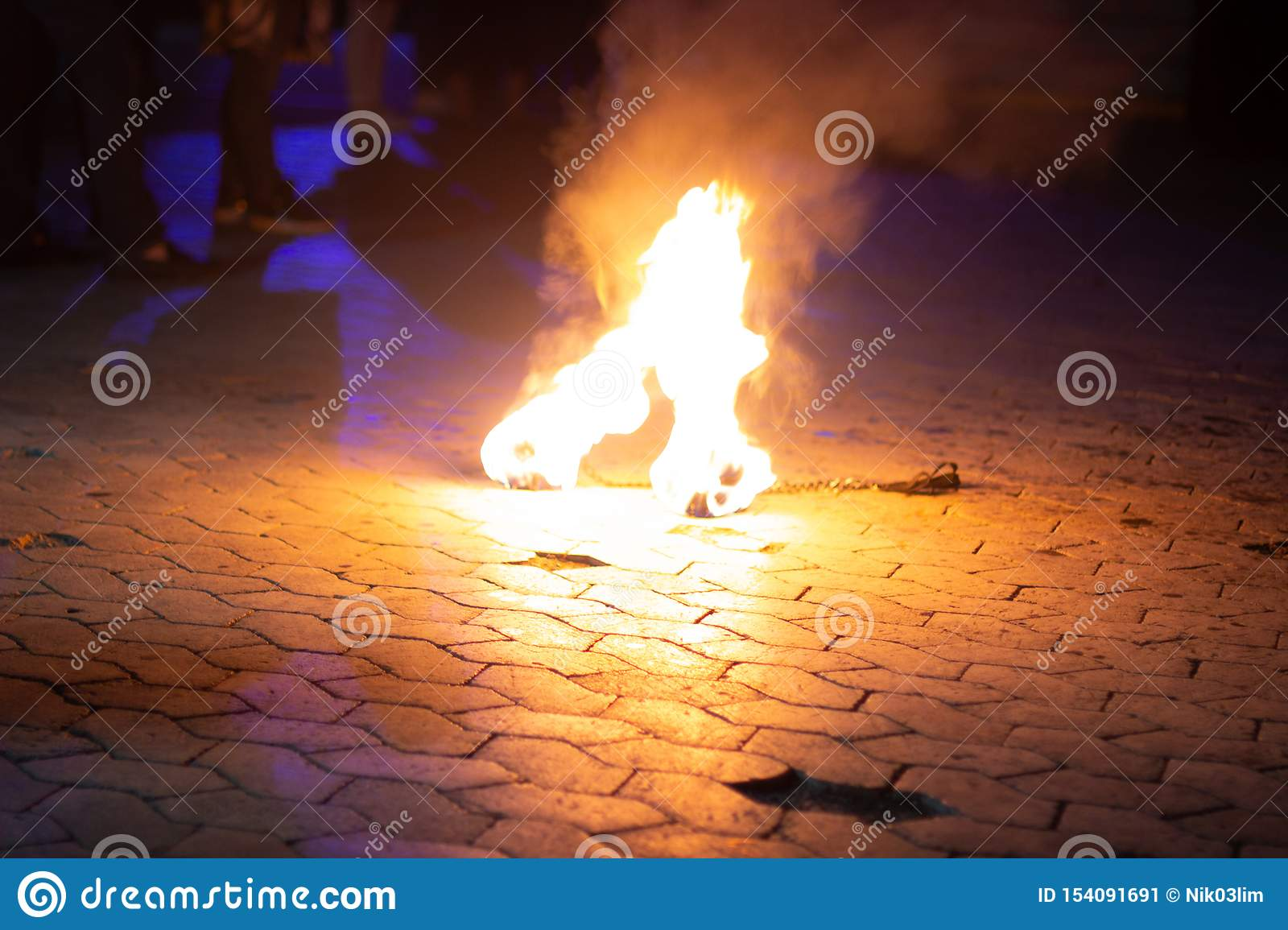 Fire lying on the ground