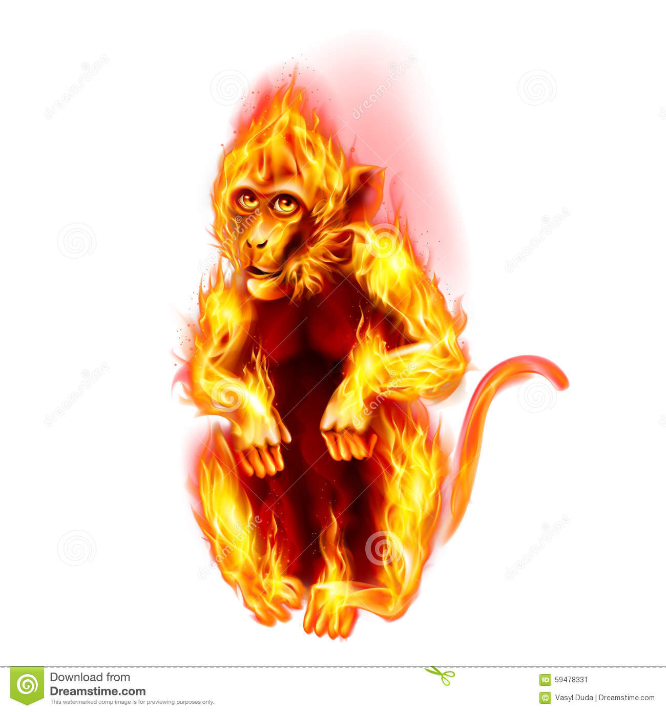 fire monkey stock illustration