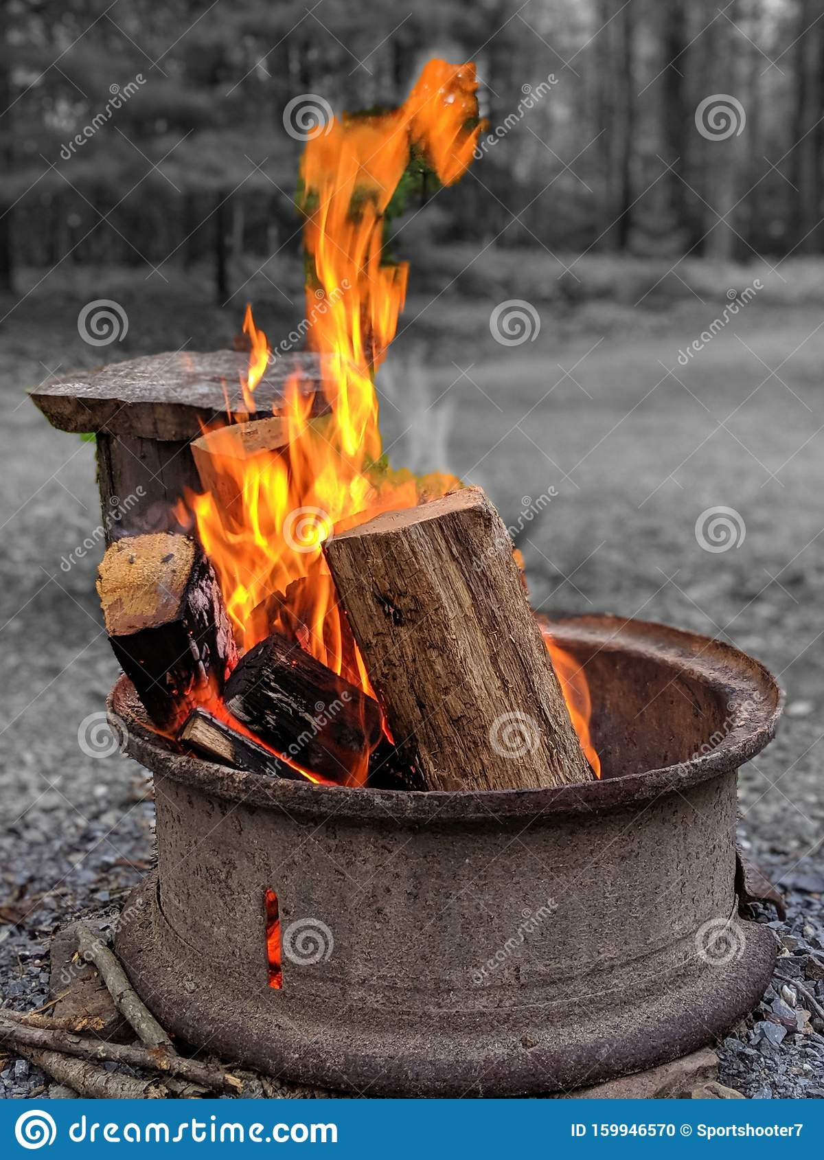 Fire Pit In Outdoor Setting On Summer Evening. Selective ...